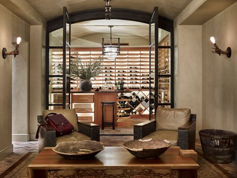 home wine cellar and sip room designed by meredith mcbrearty in fort worth