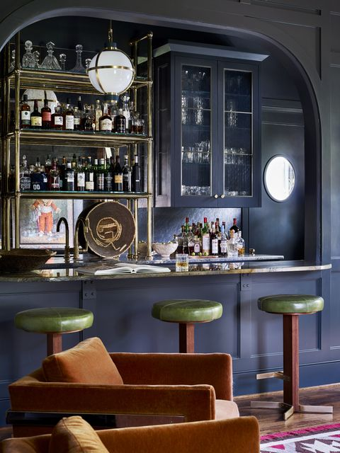 blue home bar designed by meredith mcbrearty in fort worth