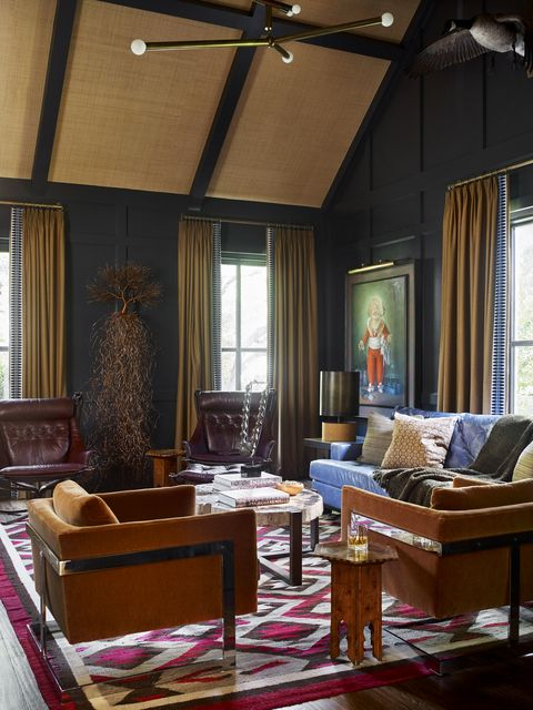 blue sitting room designed by meredith mcbrearty in fort worth