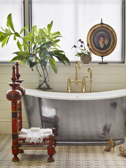 eclectic bathroom with silver tub designed by meredith mcbrearty in fort worth