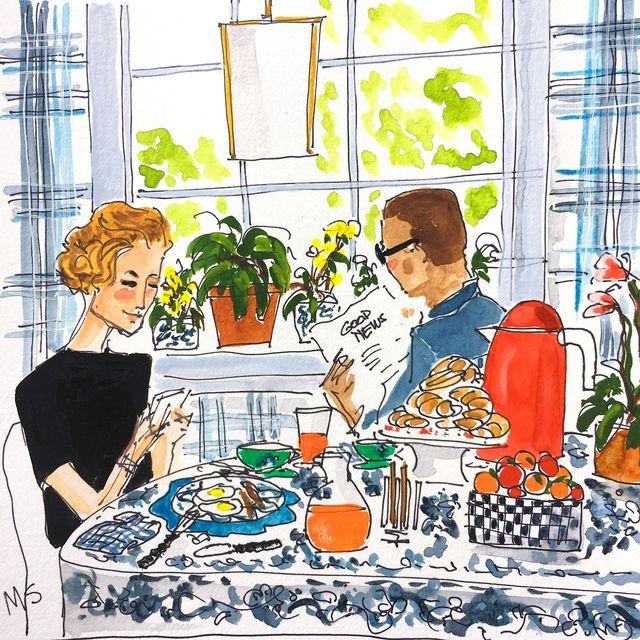 illustration of two people having breakfast