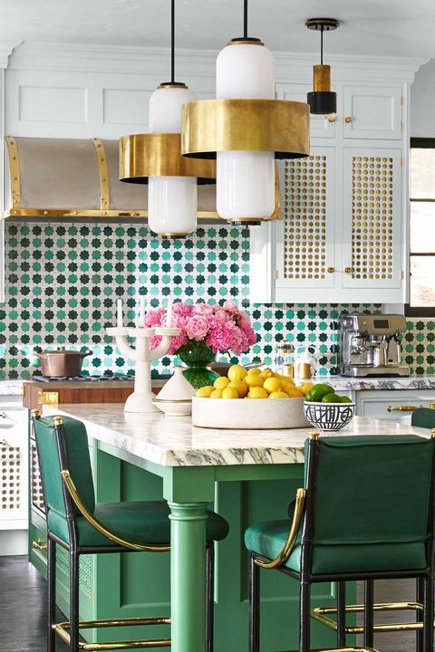 Room, Green, Furniture, Interior design, Turquoise, Kitchen, Dining room, Property, Building, Ceiling,
