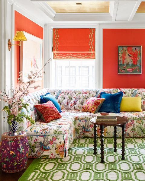 Living room, Room, Furniture, Interior design, Property, Red, Curtain, Orange, Couch, Wall,