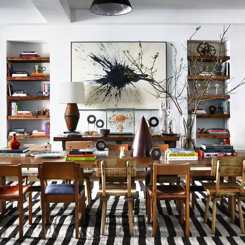 Room, Dining room, Interior design, Furniture, Table, Building, Wall, Floor, Kitchen & dining room table, Ceiling,