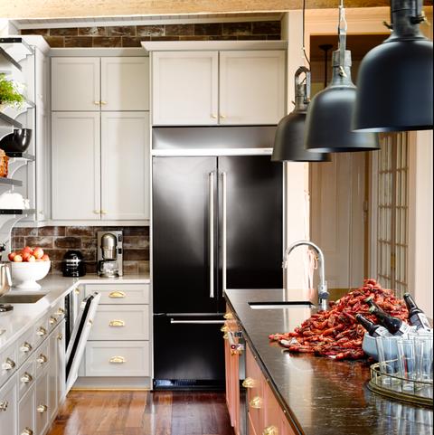 Countertop, Cabinetry, Kitchen, Room, Furniture, Refrigerator, Floor, Wood flooring, Interior design, Property,