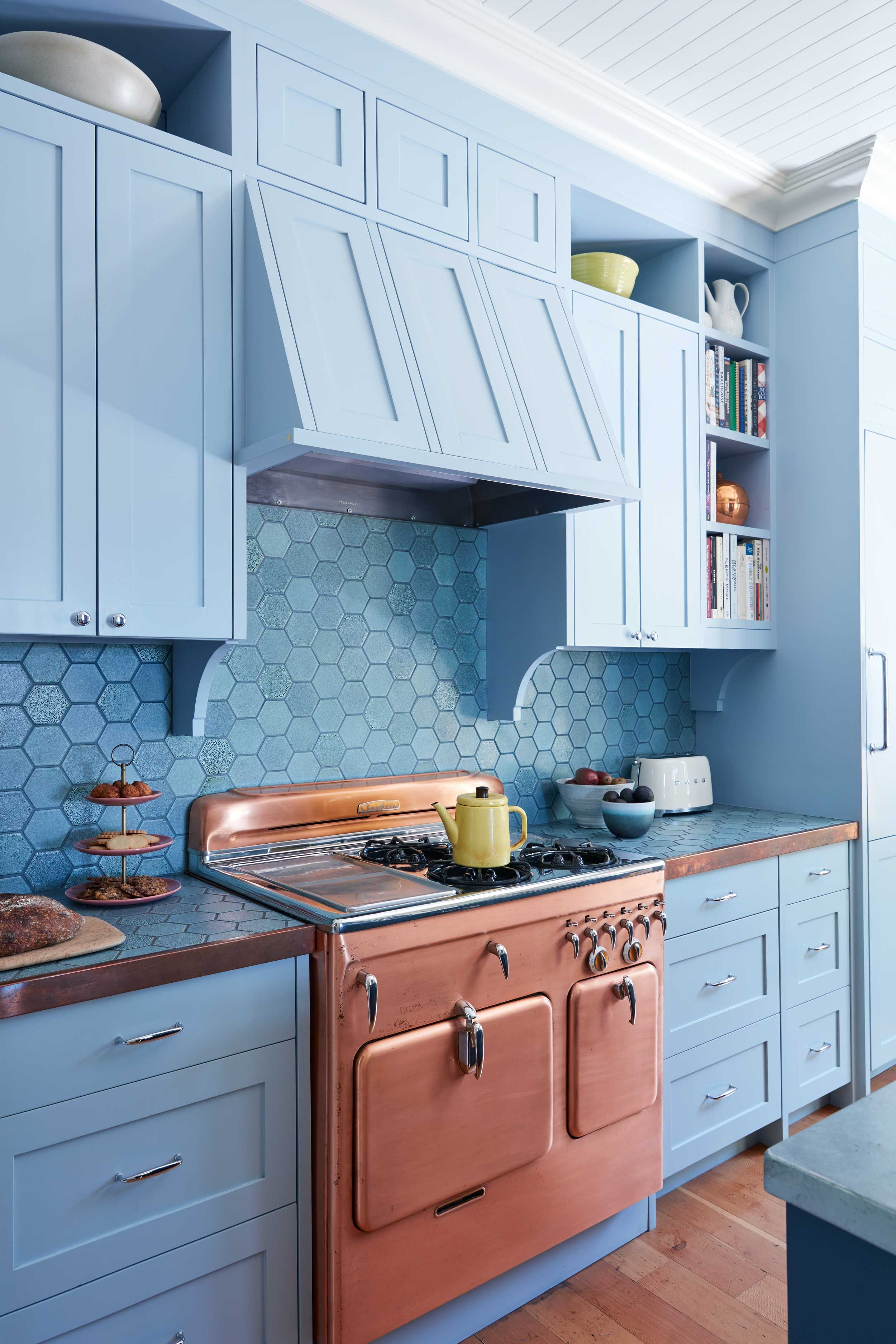 Blue French country kitchen