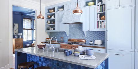 Countertop, Furniture, Room, Cabinetry, Kitchen, Property, Blue, Interior design, Building, Floor,