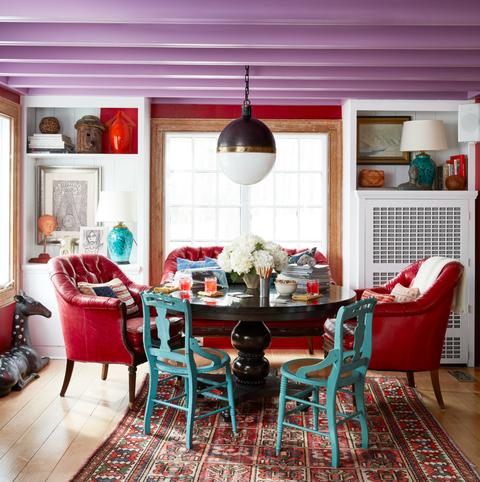 Room, Red, Furniture, Interior design, Blue, Living room, Property, Home, Building, House,
