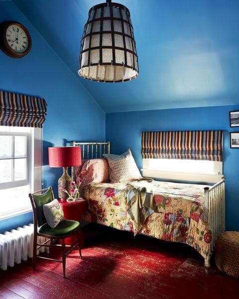 Furniture, Bedroom, Lampshade, Room, Interior design, Blue, Bed, Lighting accessory, Ceiling, Bed frame,