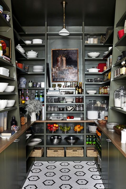 green pantry with open shelves