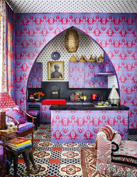 Room, Furniture, Living room, Wallpaper, Interior design, Wall, Bedroom, Building, Architecture, Decoration,