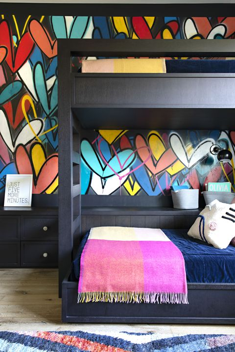 Room, Graffiti, Furniture, Bedroom, Art, Interior design, Design, Visual arts, Pattern, Textile,