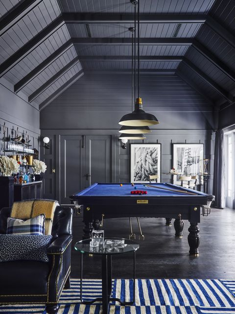 pool table, blue pool table, blue and white stripped rug