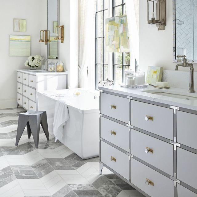 Bathroom, Room, White, Furniture, Property, Interior design, Tile, Floor, Bathroom cabinet, Yellow,