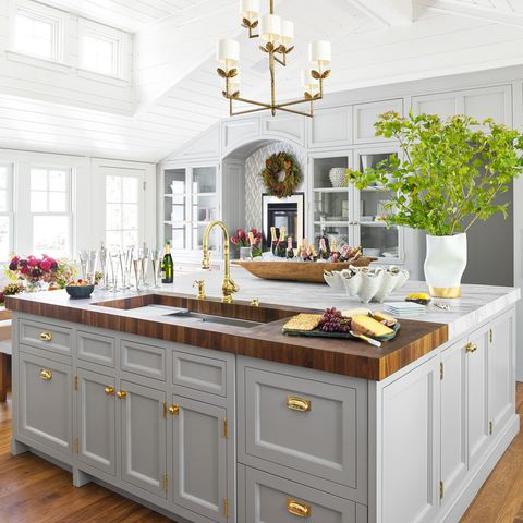 Furniture, Countertop, Room, White, Cabinetry, Kitchen, Property, Interior design, Yellow, Ceiling,