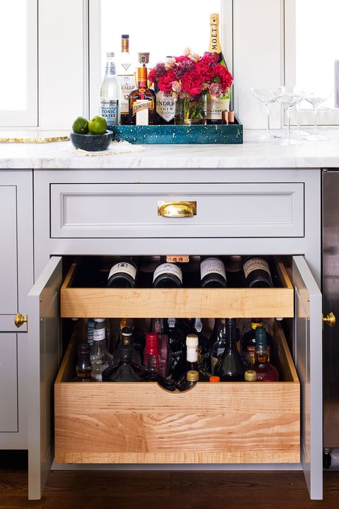 Furniture, Drawer, Room, Wine bottle, Countertop, Cabinetry, Kitchen, Hutch, Shelf, Wine rack,