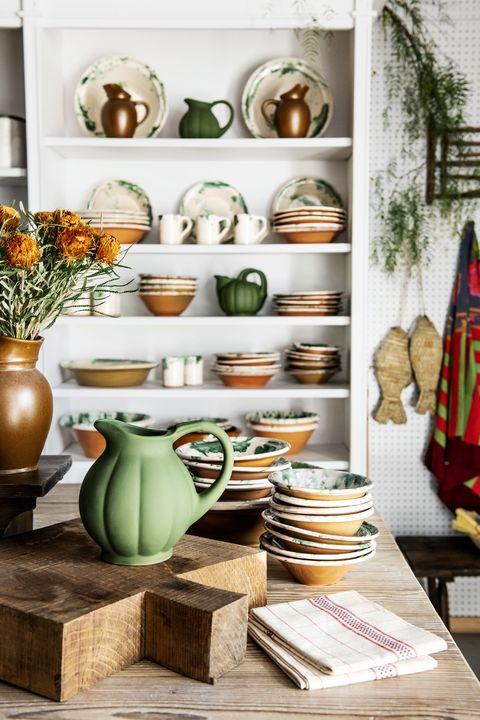 Shelf, Green, Room, Furniture, Orange, Shelving, Table, Interior design, Ceramic, Hutch,