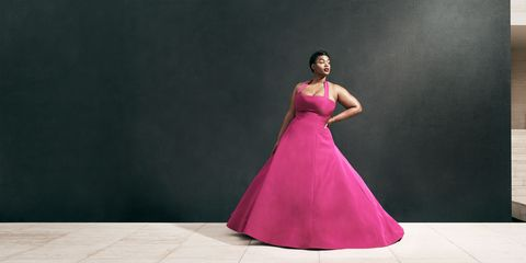Gown, Dress, Fashion model, Clothing, Shoulder, Pink, Formal wear, A-line, Purple, Fashion,