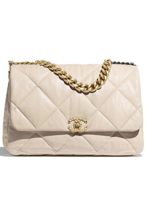 Handbag, Bag, Shoulder bag, Fashion accessory, Beige, Chain, Rectangle, Leather,