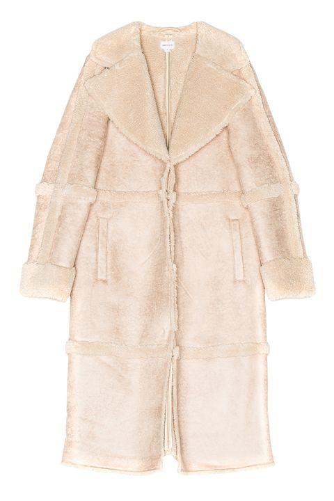 Clothing, Outerwear, Robe, Sleeve, Beige, Coat, Fur, Jacket, Trench coat, Overcoat,