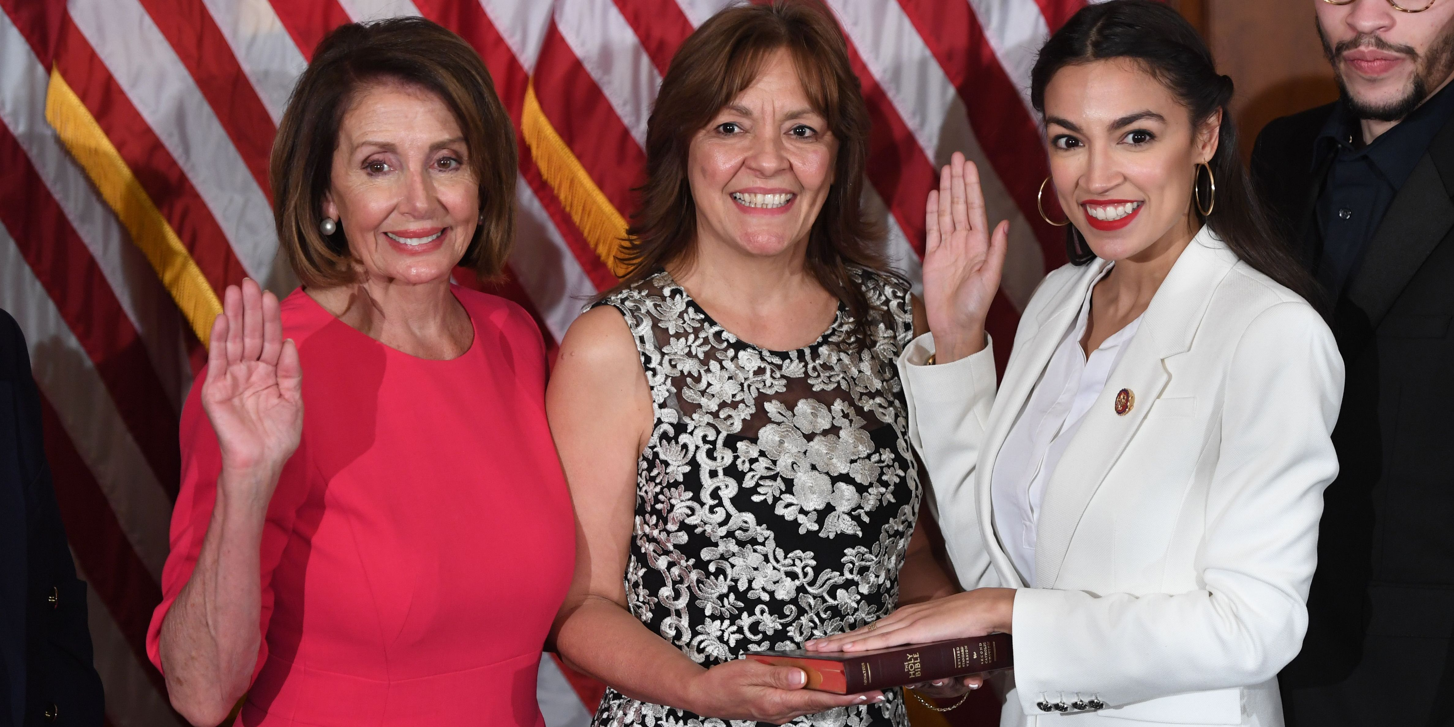 bc8f4c4bf Alexandria Ocasio-Cortez's Swearing-In Outfit Was a Nod to Suffragettes and  Bronx Girls