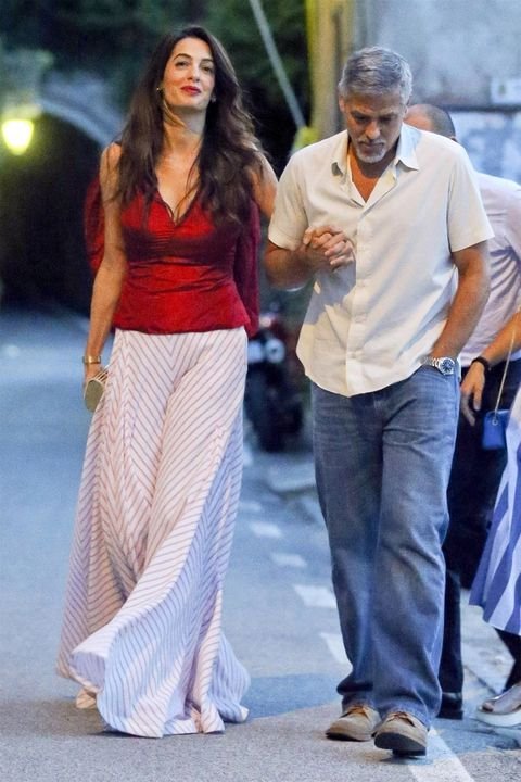 b48fce81252f Amal Clooney Wears Red Top And Striped Pants - Amal Clooney Date ...