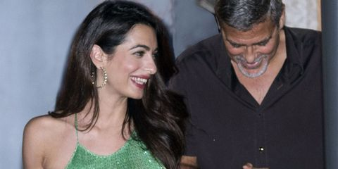 d70d539686ac Amal Clooney Green Sequined Dress - Amal and George Clooney Dinner ...