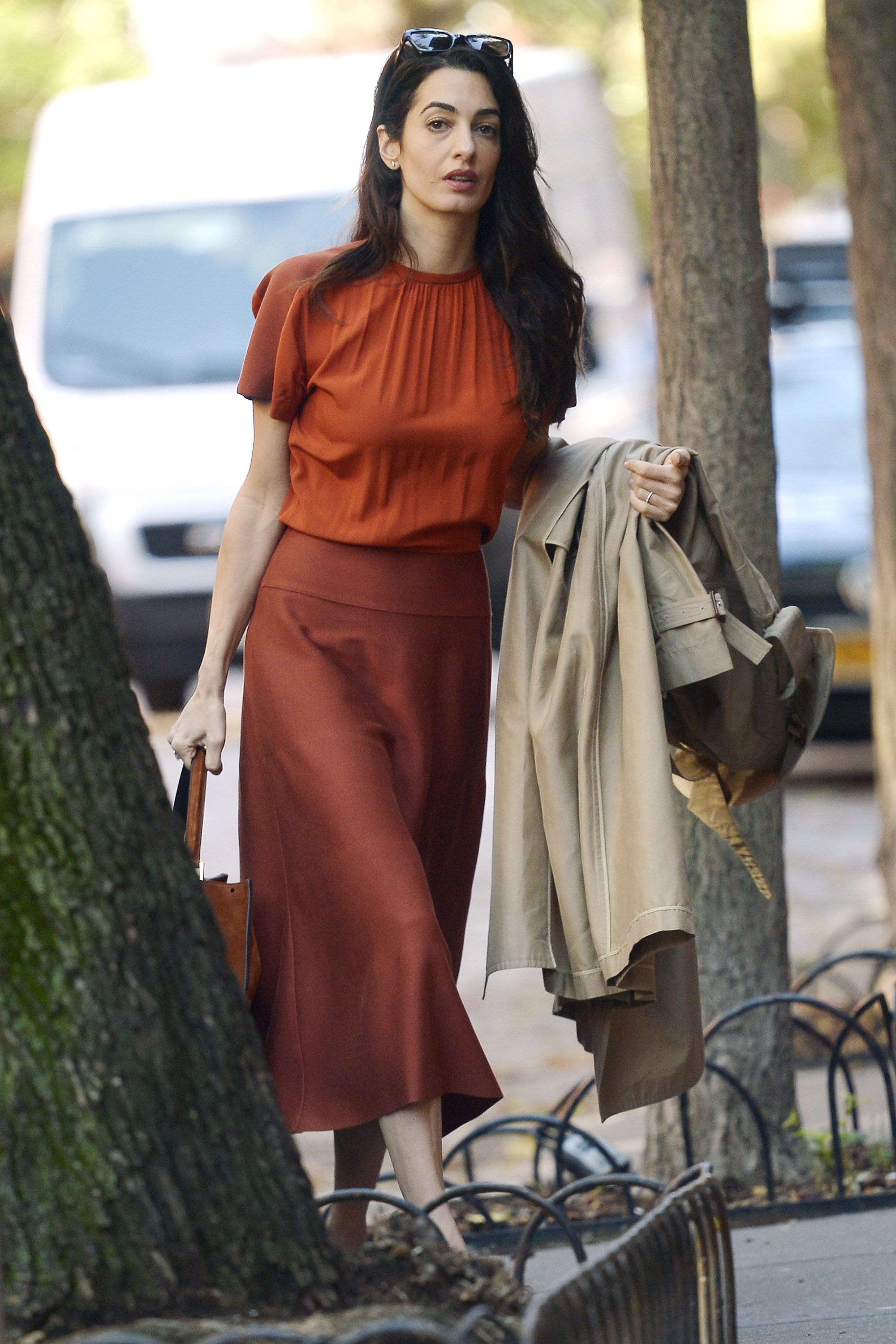 Amal Clooney Put the Perfect Fall Spin on Your Favorite Skirt Trend