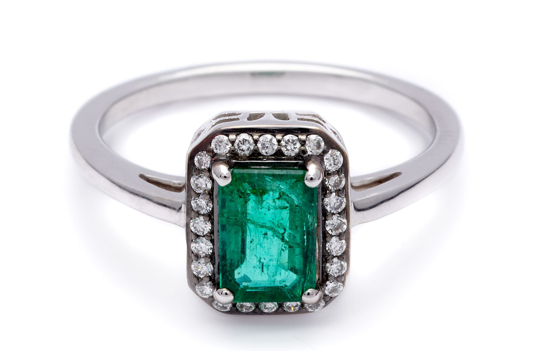 emerald ring pin cut east diamond engagement west eb