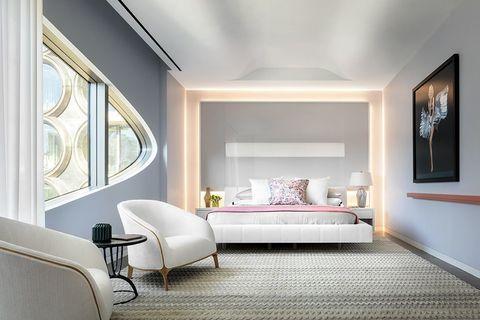 Room, Furniture, Bedroom, Interior design, Property, Ceiling, Bed, Floor, Wall, Building,