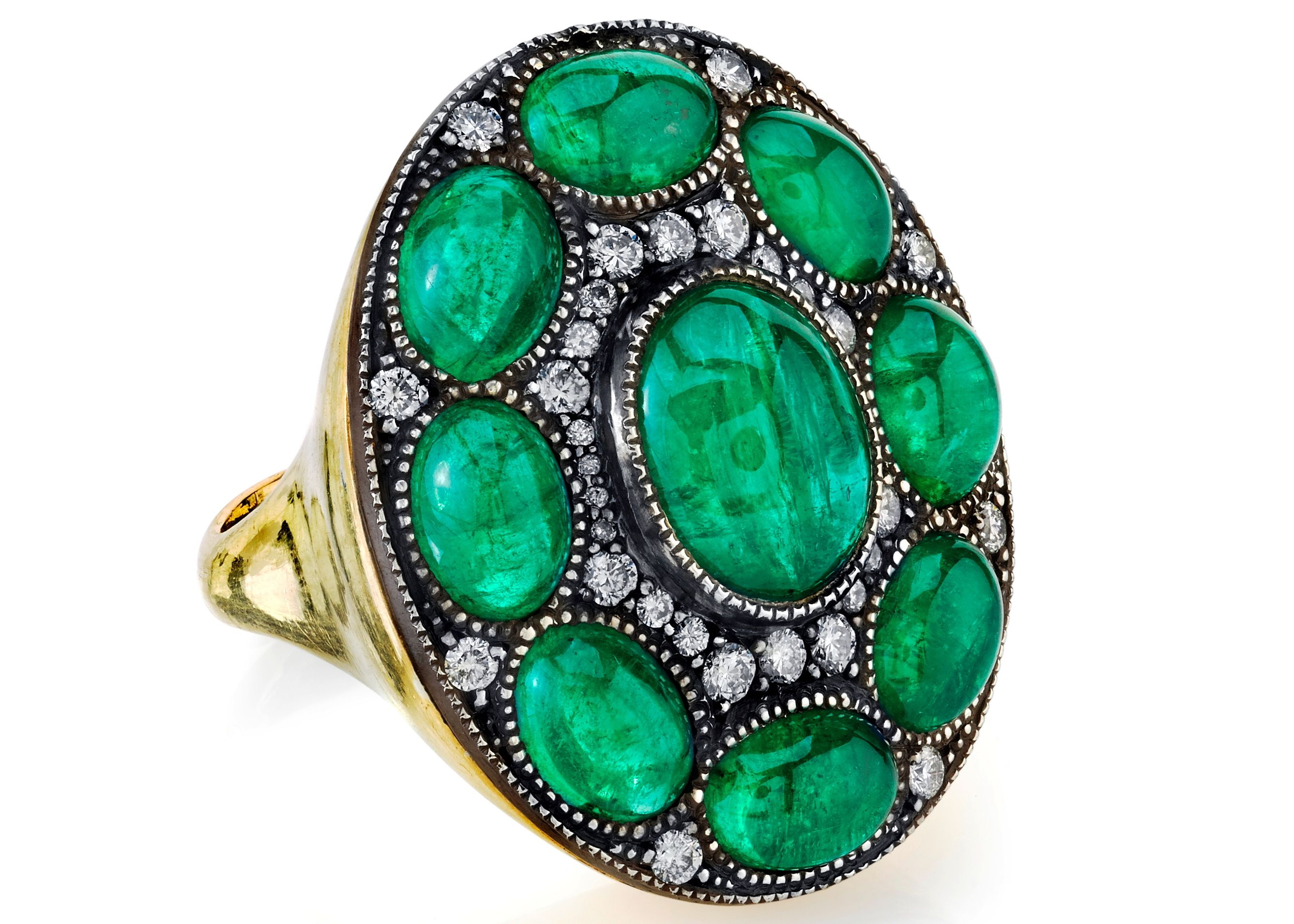 ring cut emerald stone gold diamond engagement yellow wedding three aemilia