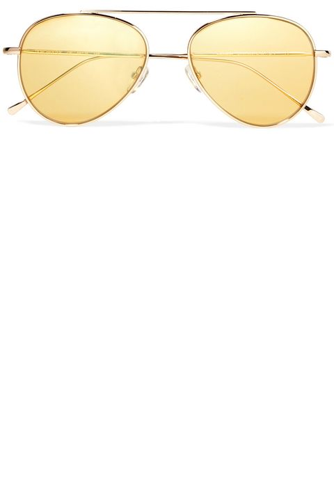 Eyewear, Sunglasses, Glasses, aviator sunglass, Yellow, Vision care, Line, Personal protective equipment, Material property, Eye glass accessory,