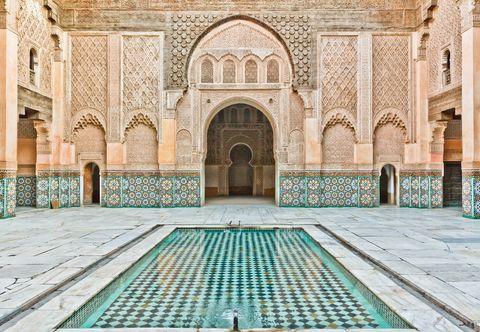Blue, Building, Holy places, Architecture, Courtyard, Mosque, Symmetry, Arch, Khanqah, Facade,