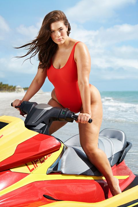 f9be2a0513d Ashley Graham Models Red Baywatch Inspired Bathing Suit - Swimsuits ...