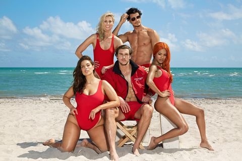 989c7037a8d Ashley Graham Models Red Baywatch Inspired Bathing Suit - Swimsuits ...
