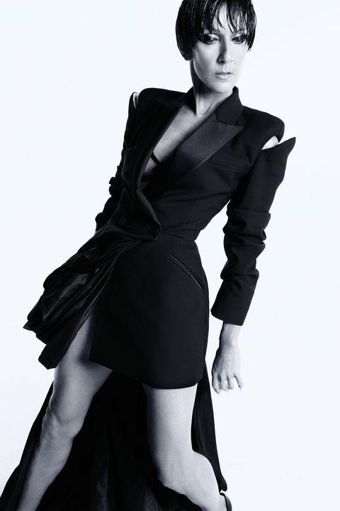 Sleeve, Shoulder, Dress, Standing, Joint, Formal wear, Style, One-piece garment, Bangs, Fashion model,