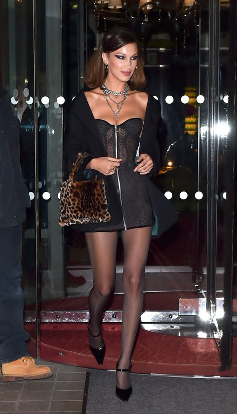 01bde5a941a Bella Hadid is seen leaving the Royal Monceau hotel in Paris with Jesse Jo  Stark going