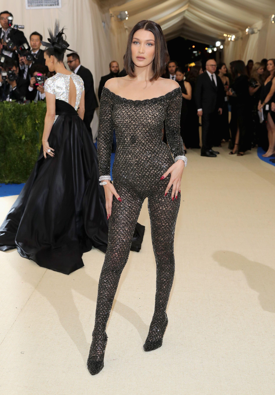 Bella Hadid Wears Sheer Jumpsuit at Met Gala - Bella Hadid ...