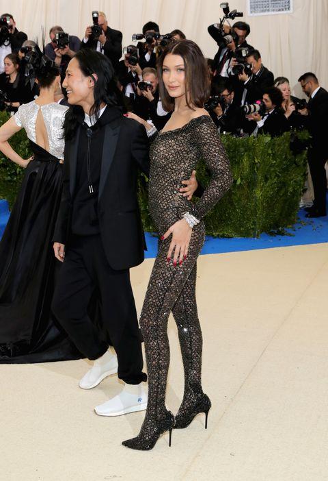 efcf1689406 Bella Hadid Wears Sheer Jumpsuit at Met Gala - Bella Hadid Alexander ...
