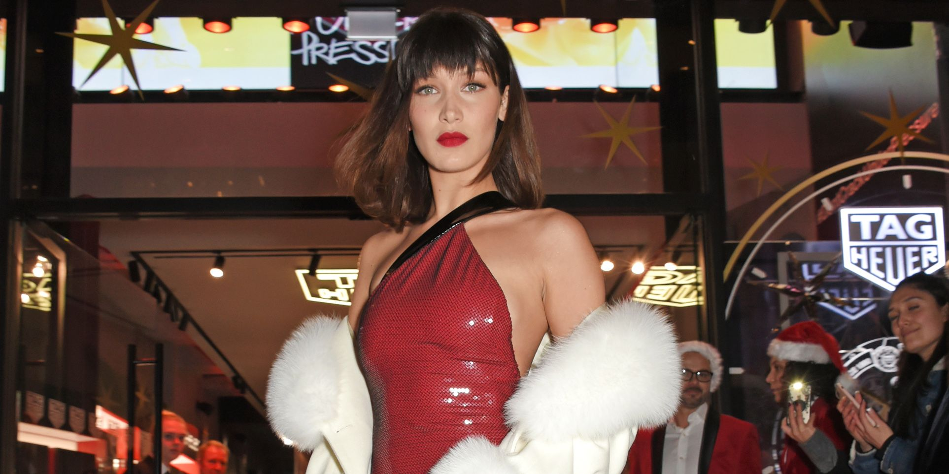 Bella Hadid Red Sequin Dress And White Fur Coat Bella Hadid Christmas Outfit