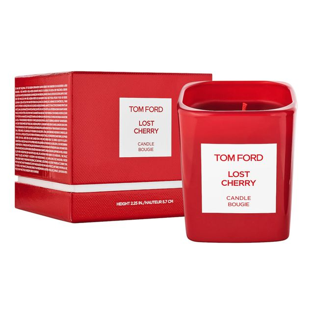 tom ford lost cherry candle on white background