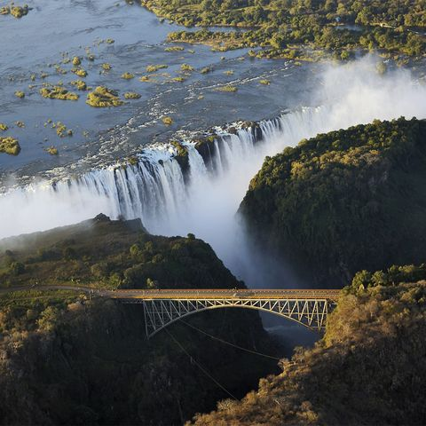 Panoramic view of Victoria Falls and the old bridge