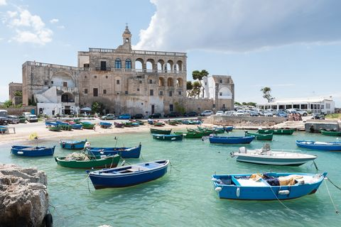 San Vito port with old abbey and colorful fischerboats