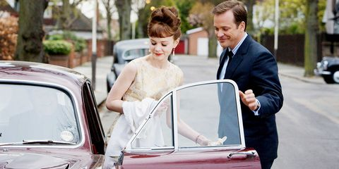 Vehicle, Car, Classic, Dress, Ceremony, Family car, Wedding, Bride, Classic car,