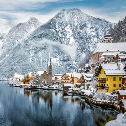 The snow covered village of Hallstatt in the Austrian Alps