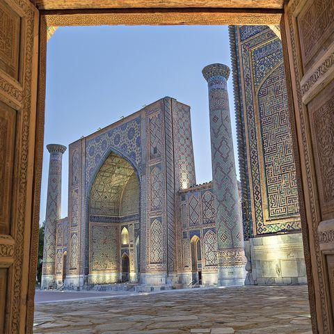 Registan Square, in Samarkand, Uzbekistan.