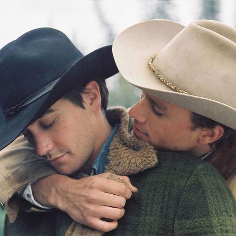 Hat, Interaction, Headgear, Fashion accessory, Love, Cowboy hat, Sun hat, Kiss, Fedora, Facial hair,