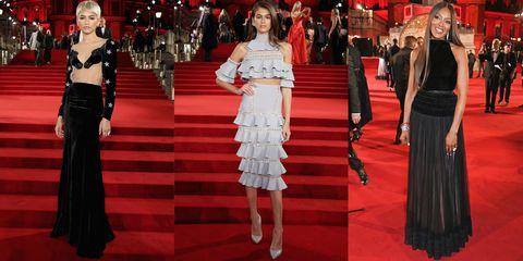 Red carpet, Clothing, Fashion model, Carpet, Dress, Flooring, Fashion, Gown, Haute couture, Premiere,