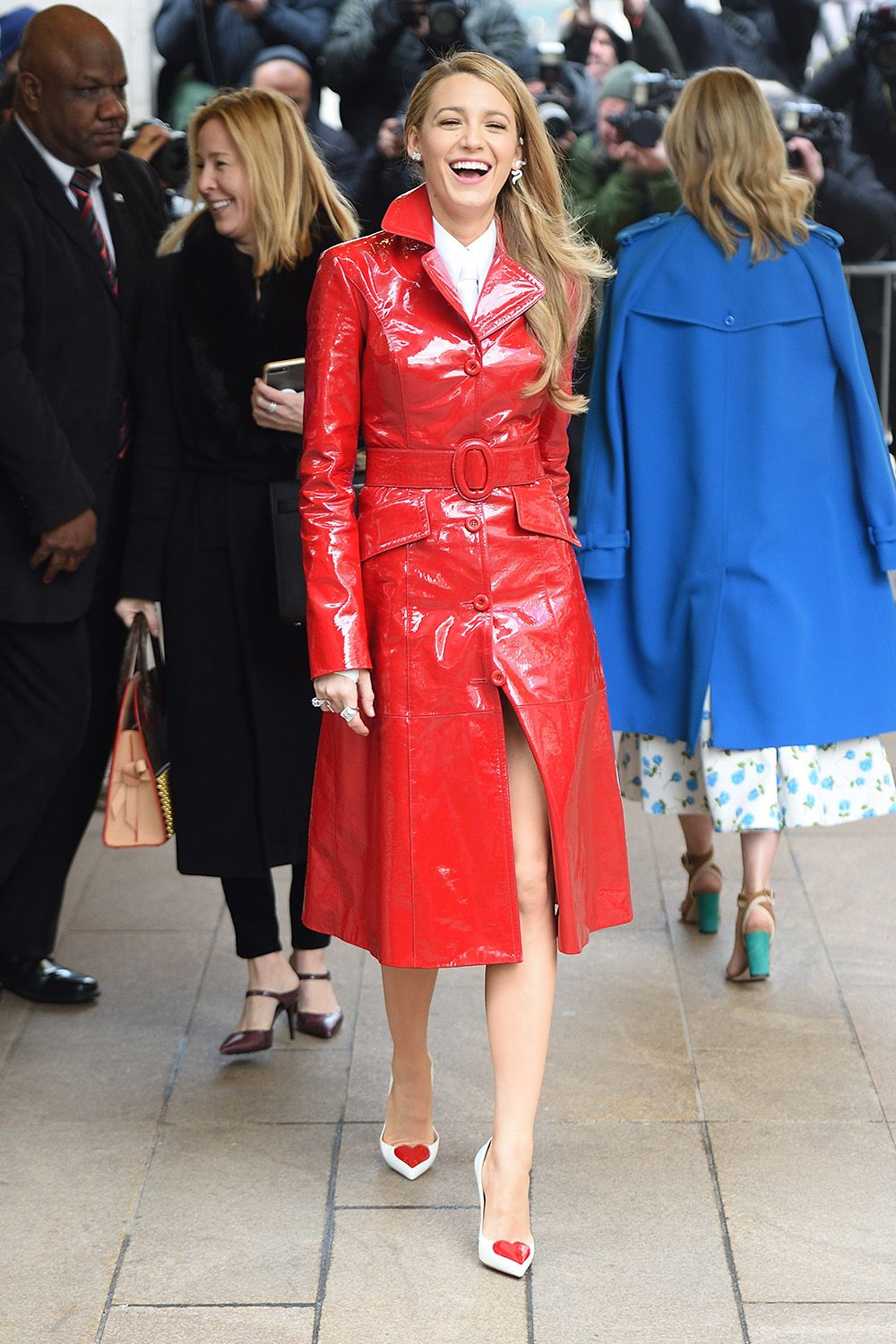 Blake Lively Wears A Red Coat At Fashion Week Blake
