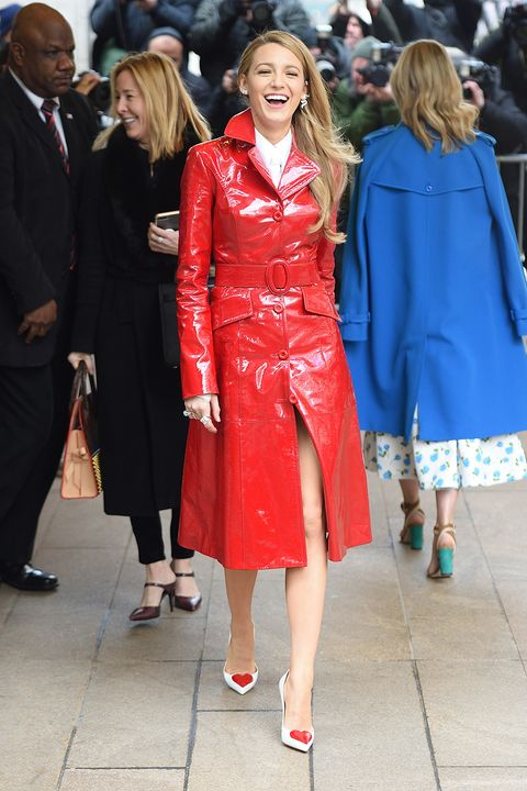 Blake Lively Wears A Red Coat At Fashion Week Blake